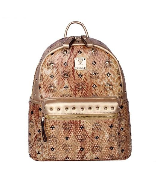 MCM Rivets Snakeskin Studded Leather Small Backpack In Golden