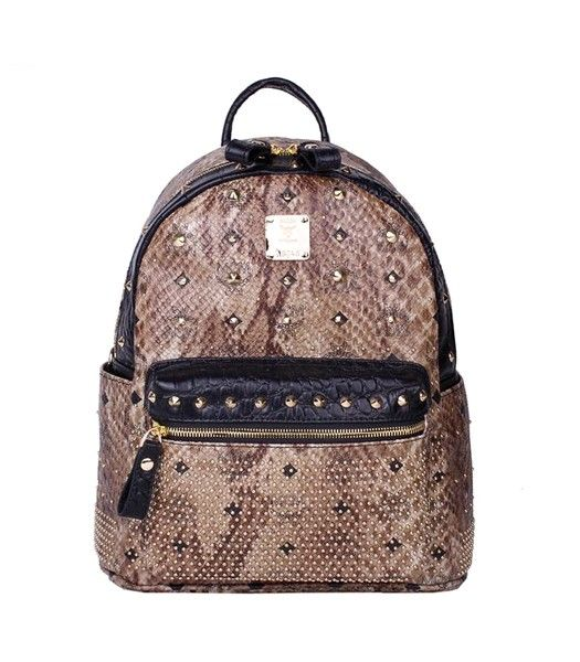 MCM Rivets Snakeskin Studded Leather Small Backpack In Tyrant Golden