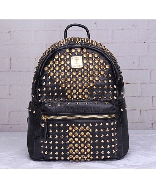MCM Stark Special Crystal Studded Small Backpack Black Leather