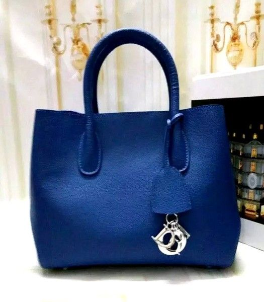 Christian Dior 35cm Exclusive New Tote Bag 60001 Sapphire Blue Leather