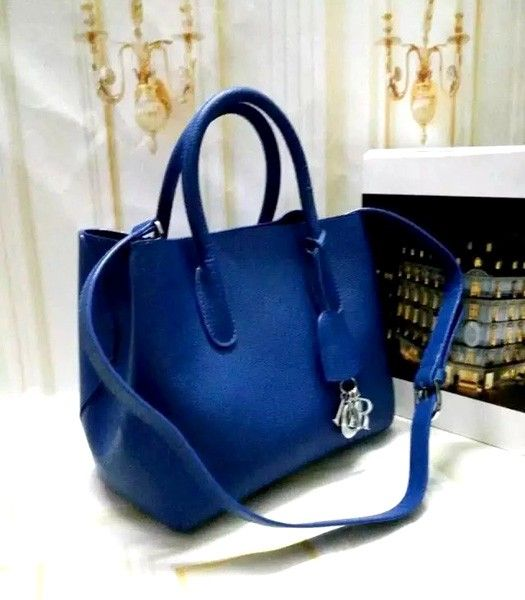 Christian Dior 28cm Exclusive New Tote Bag 60001 Sapphire Blue Leather