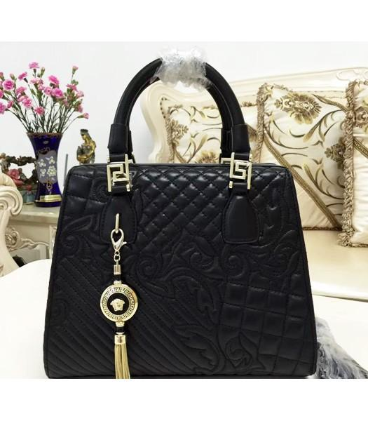 Versace Top-quality Lambskin Leather Tote Bag 2018 In Black