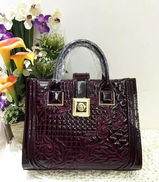 Versace Classic Cow Patent Leather Tote Bag 2840 In Wine Red