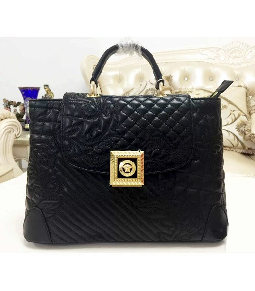 Versace Classic Embroidered Lambskin Leather Handbag 2021 In Black