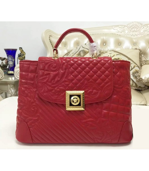 Versace Classic Embroidered Lambskin Leather Handbag 2021 In Red