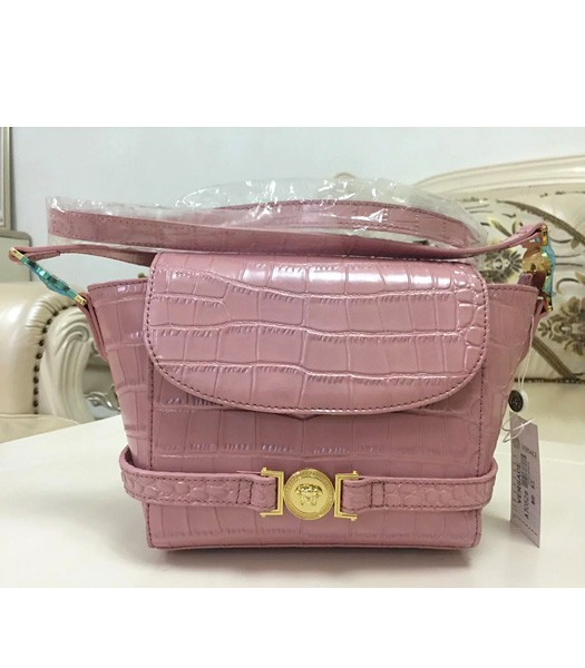 Versace Fashion Croc Veins Cow Leather Shoulder Bag 7052 Cherry Pink
