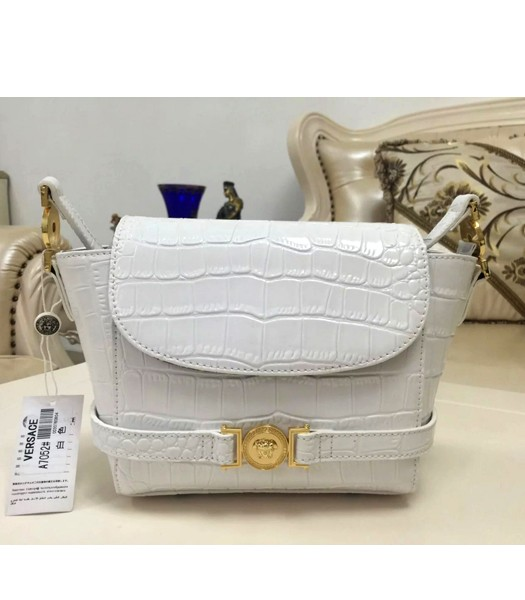 Versace Fashion Croc Veins Cow Leather Shoulder Bag 7052 White