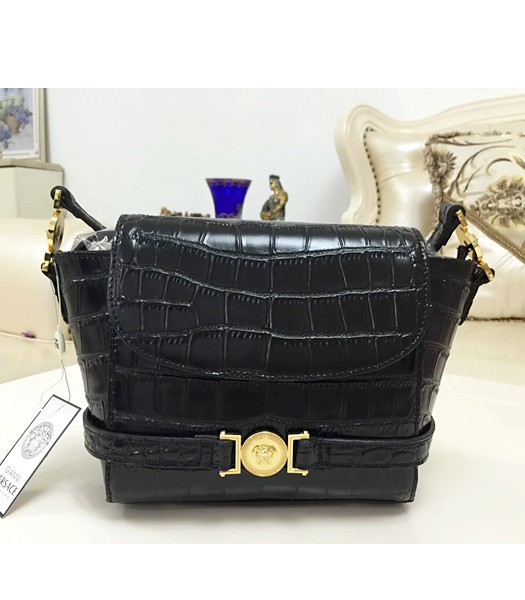 Versace Fashion Croc Veins Cow Leather Shoulder Bag 7052 Black