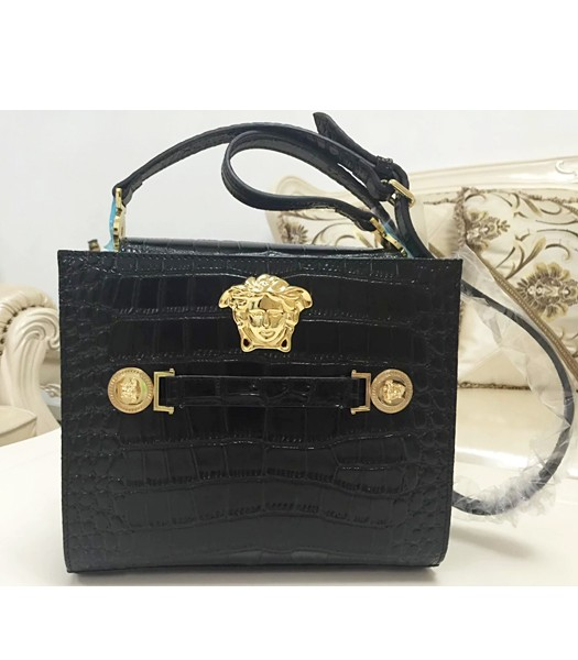 Versace Hot-sale Croc Veins Cow Leather Shoulder Bag 7051 Black