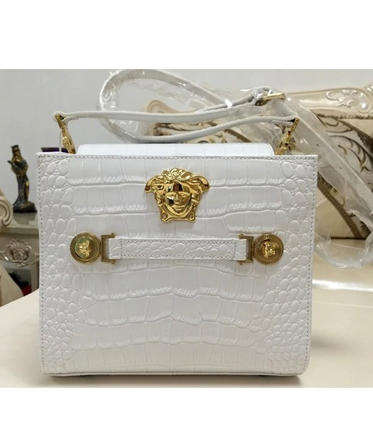 Versace Hot-sale Croc Veins Cow Leather Shoulder Bag 7051 White