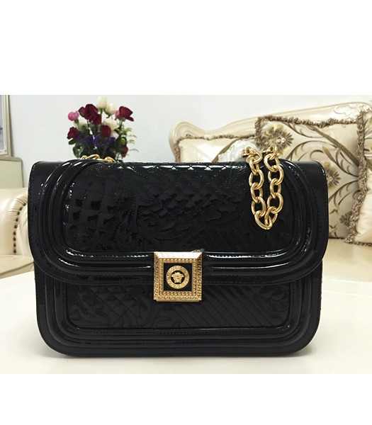 Versace The Newest Patent Leather Shoulder Bag 2023 Black
