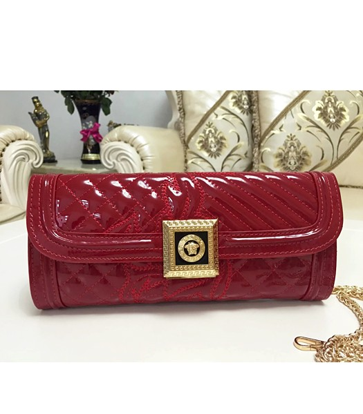 Versace Cow Patent Leather Chain Clutch 2841 Red
