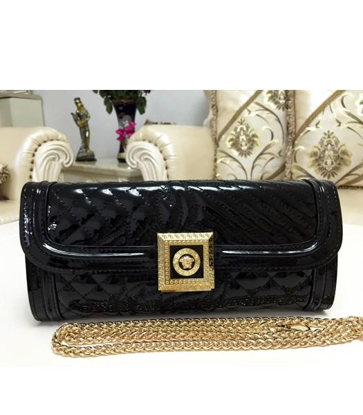 Versace Cow Patent Leather Chain Clutch 2841 Black