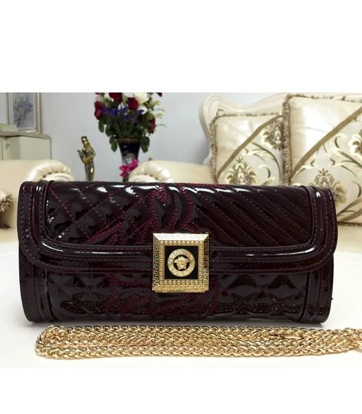 Versace Cow Patent Leather Chain Clutch 2841 Wine Red