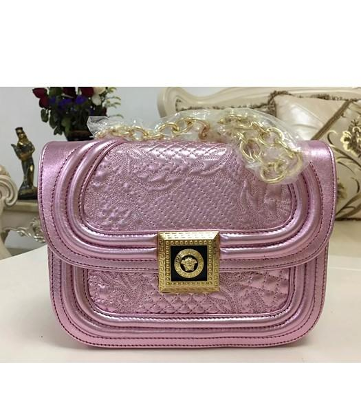 Versace Embroidered Lambskin Leather Shoulder Bag 2022 Cherry Pink