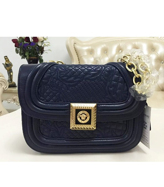Versace Embroidered Lambskin Leather Shoulder Bag 2022 Sapphire Blue