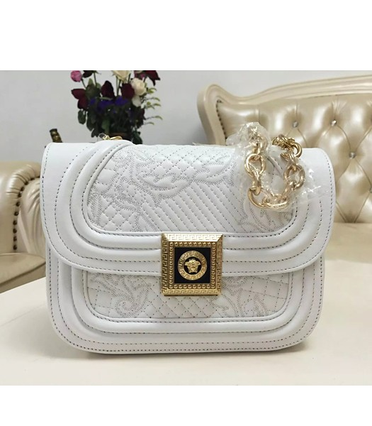 Versace Embroidered Lambskin Leather Shoulder Bag 2022 White