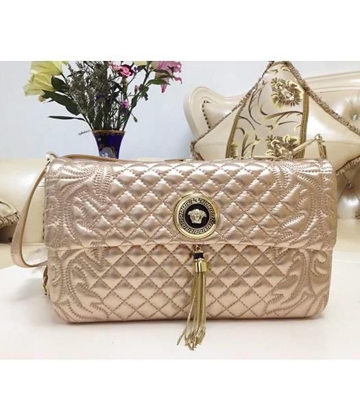 Versace Fashion Embroidered Lambskin Shoulder Bag Champagne Gold