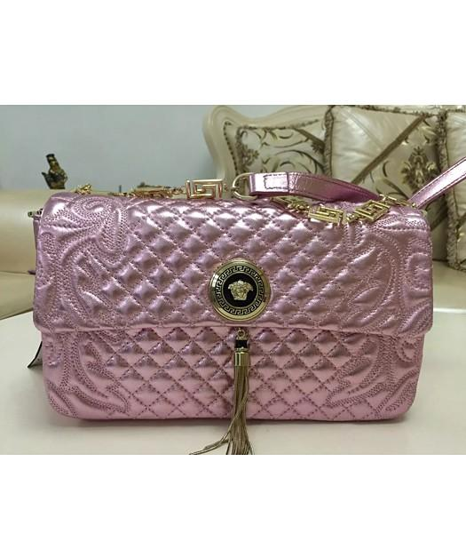 Versace Fashion Embroidered Lambskin Shoulder Bag Cherry Pink