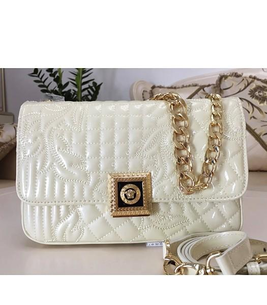 Versace Embroidered Cow Patent Leather Shoulder Bag Offwhite