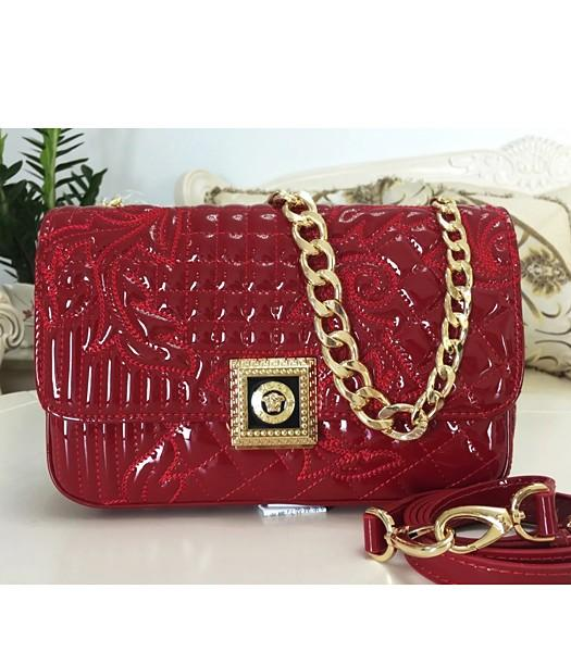 Versace Embroidered Cow Patent Leather Shoulder Bag Wine Red-1