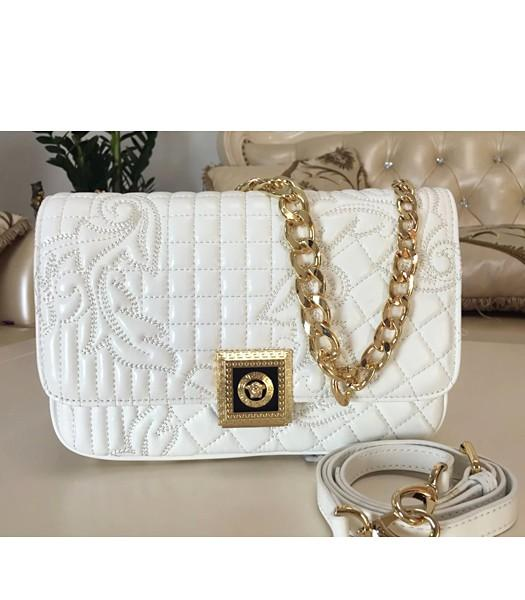 Versace Top-quality Embroidered Lambskin Shoulder Bag 9601 White