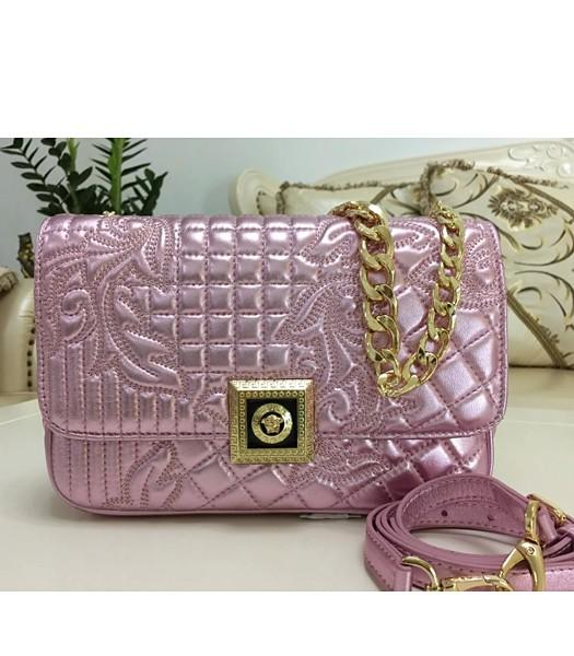 Versace Top-quality Embroidered Lambskin Shoulder Bag 9601 Cherry Pink