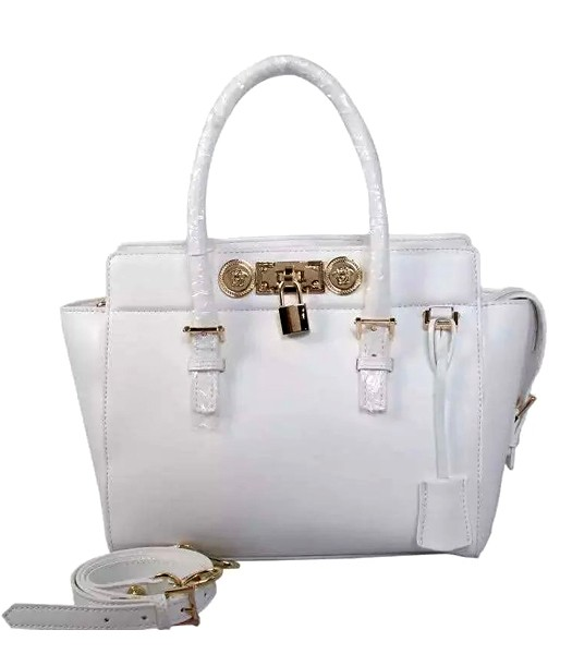 Versace The Newest Cow Leather Medium Top Handle Bag 2850 White