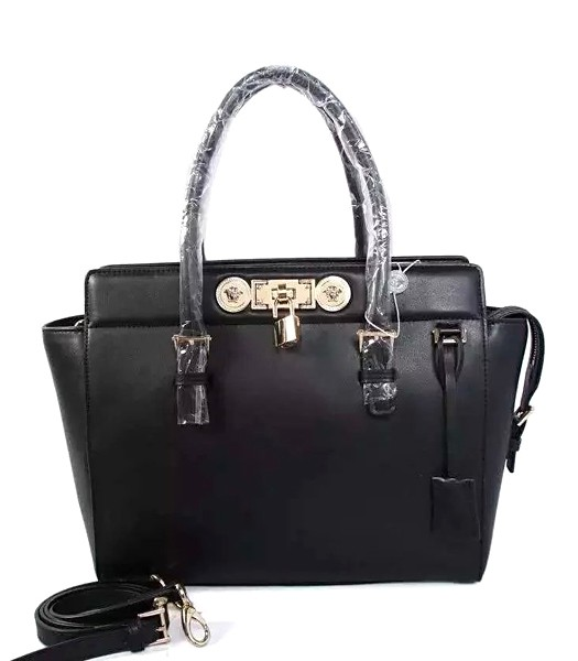 Versace The Newest Cow Leather Medium Top Handle Bag 2850 Black