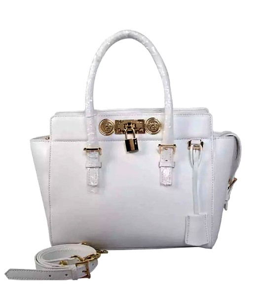 Versace The Newest Cow Leather Small Top Handle Bag 2850 White