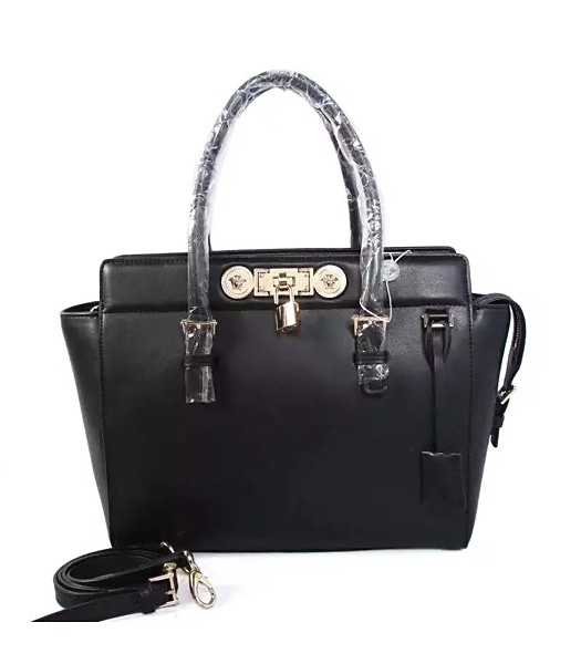 Versace The Newest Cow Leather Small Top Handle Bag 2850 Black