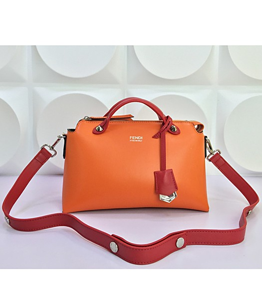 Fendi By The Way Small Shoulder Bag 2356 In Orange/Red Leather