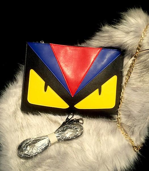 Fendi Hot-sale Fashion Monster Clutch Black/Red Leather