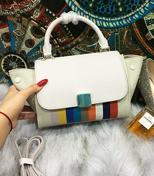 Celine Fashion Rainbow Women Top Handle Bag 8183 In White