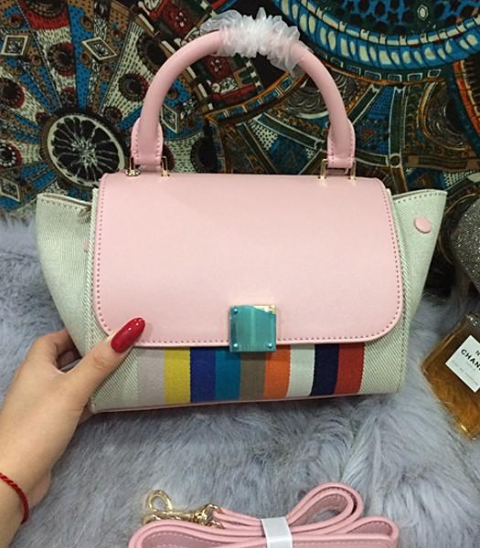 Celine Fashion Rainbow Women Top Handle Bag 8183 In Pink