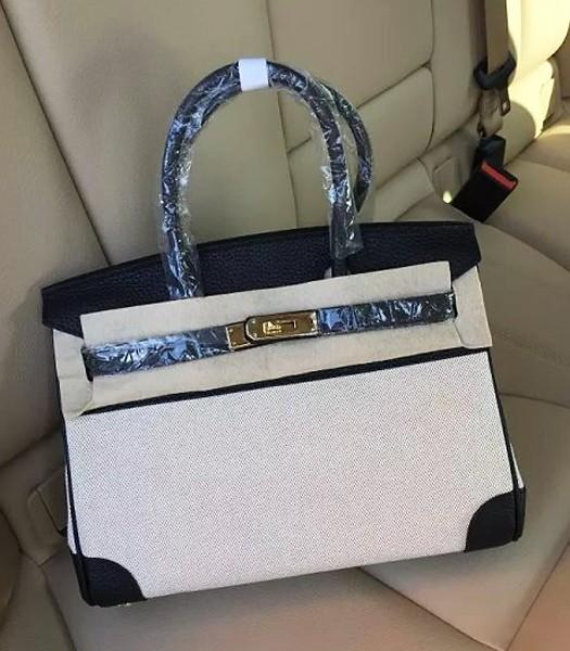 Hermes Birkin 30cm Fabric With Leather Tote Bag Black