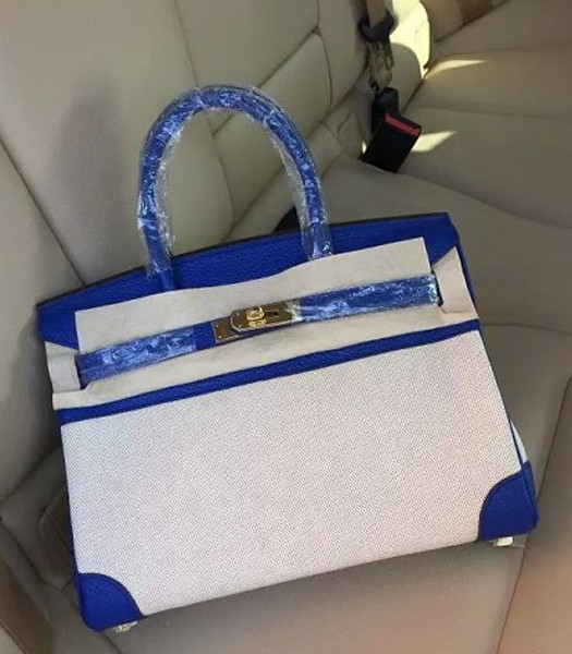 Hermes Birkin 30cm Fabric With Leather Tote Bag Electric Blue