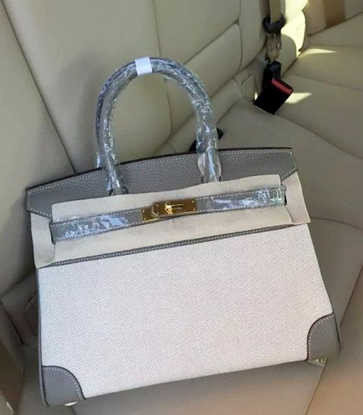 Hermes Birkin 30cm Fabric With Leather Tote Bag Dark Grey