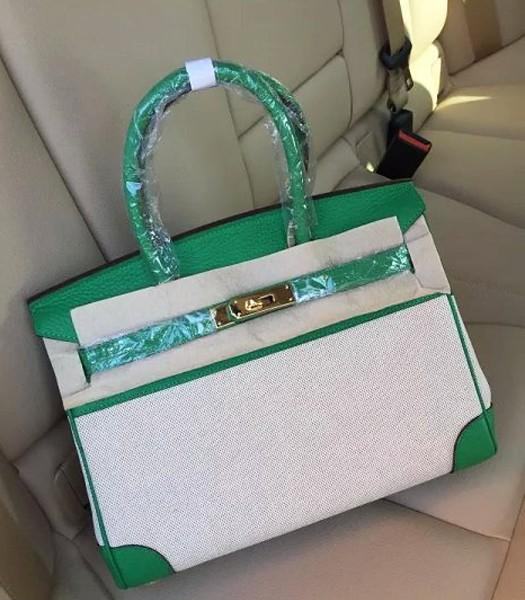 Hermes Birkin 30cm Fabric With Leather Tote Bag Green