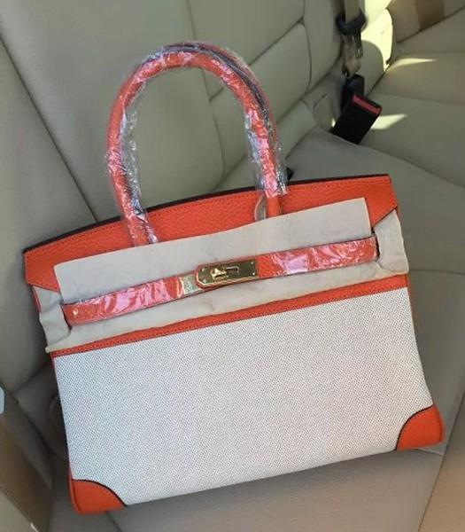 Hermes Birkin 30cm Fabric With Leather Tote Bag Orange