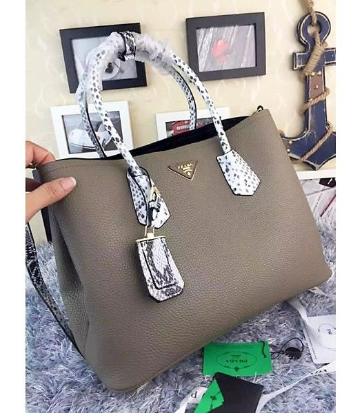 Prada Saffiano Cuir Snake Veins With Grey Cow Leather Tote Bag