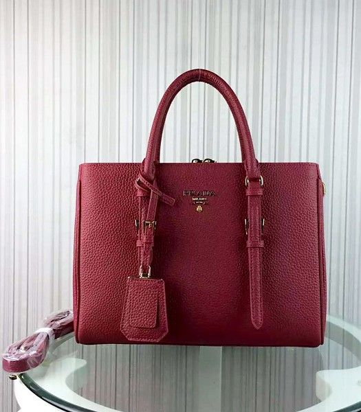 Prada Popular Calfskin Leather Tote Bag BR0133 Jujube Red