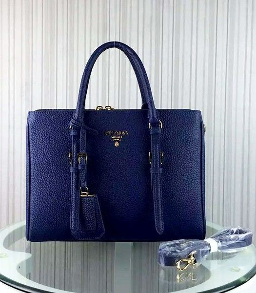 Prada Popular Calfskin Leather Tote Bag BR0133 Sapphire Blue