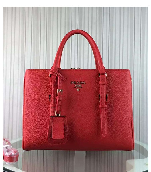 Prada Popular Calfskin Leather Tote Bag BR0133 Red