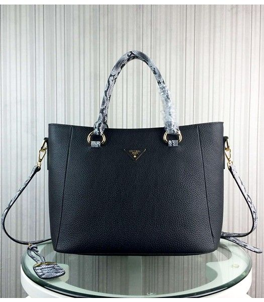 Prada Snake Veins With Cow Leather Handbag BR2969 Black