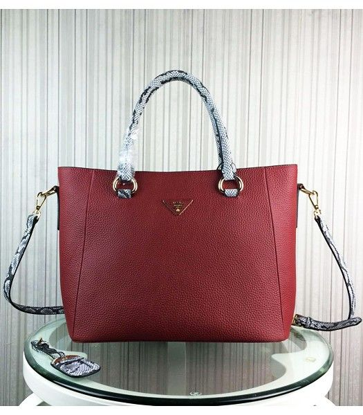 Prada Snake Veins With Cow Leather Handbag BR2969 Jujube Red