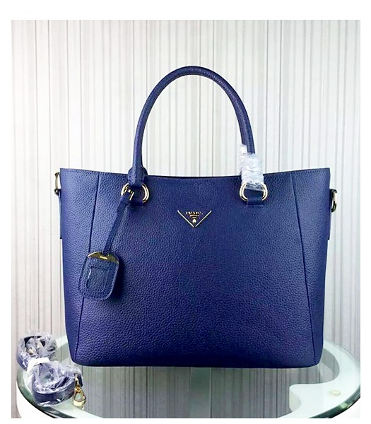 Prada Litchi Veins Cow Leather Handbag BR2969 Sapphire Blue