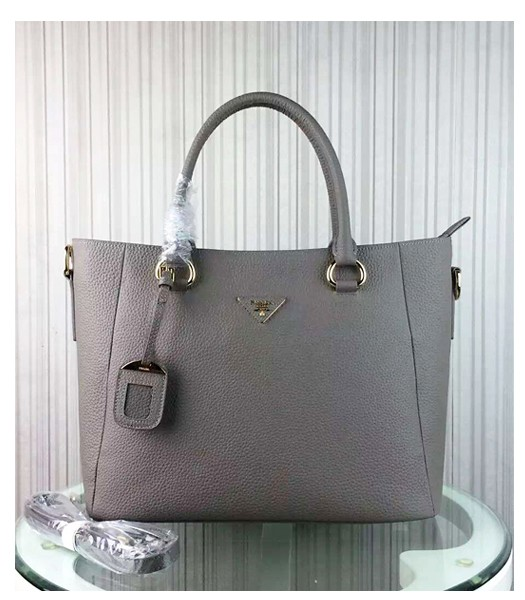Prada Litchi Veins Cow Leather Handbag BR2969 Grey
