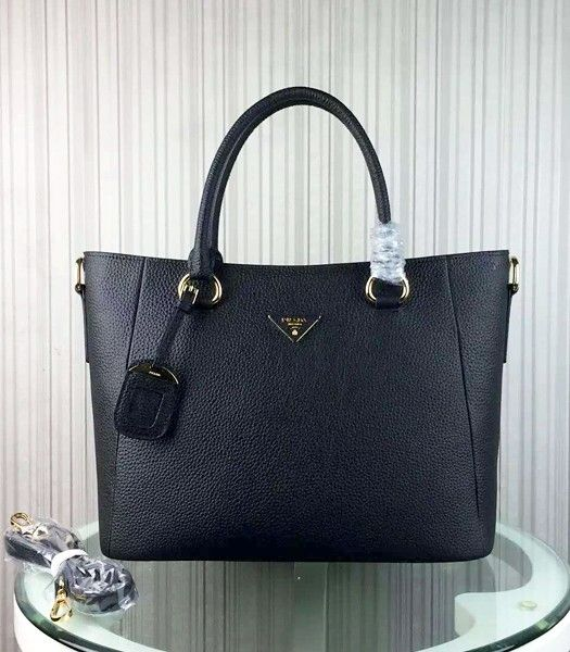 Prada Litchi Veins Cow Leather Handbag BR2969 Black
