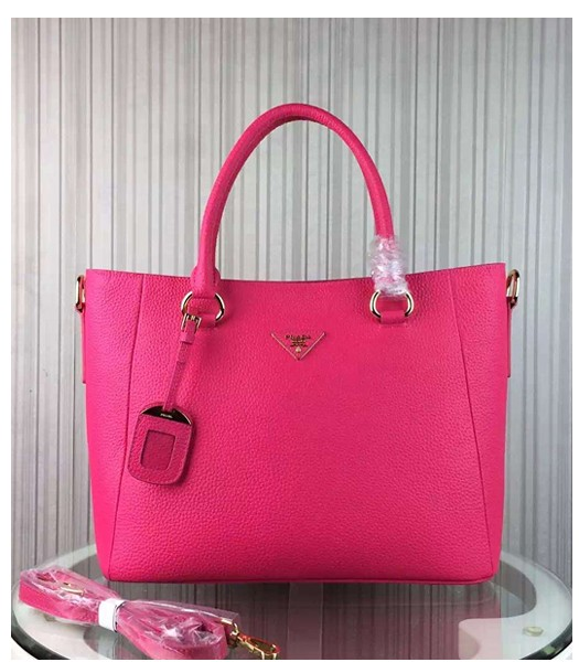 Prada Litchi Veins Cow Leather Handbag BR2969 Rose Red